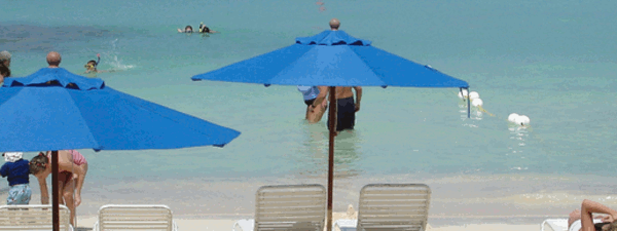ร่มชายหาด - น้ำเงิน