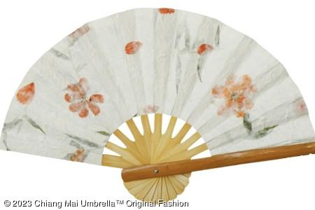 พัดกระดาษสา ดอกไม้แห้ง สีขาว 04