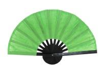 พัดกระดาษสา โครงดำ พัดสีเขียว