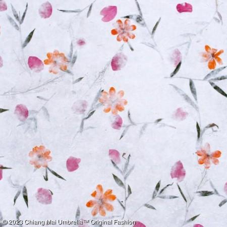 ร่มกระดาษสาดอกไม้แห้ง พื้นสีขาว