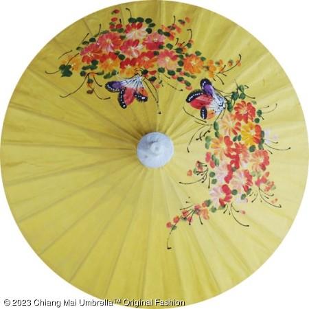 ร่มกระดาษสา ผีเสื้อและดอกไม้ สีเหลืองอ่อน
